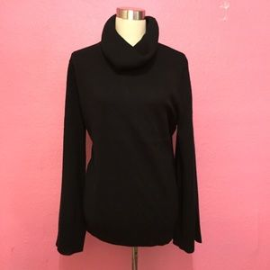 Plus size bell sleeve turtleneck sweater dark blue
